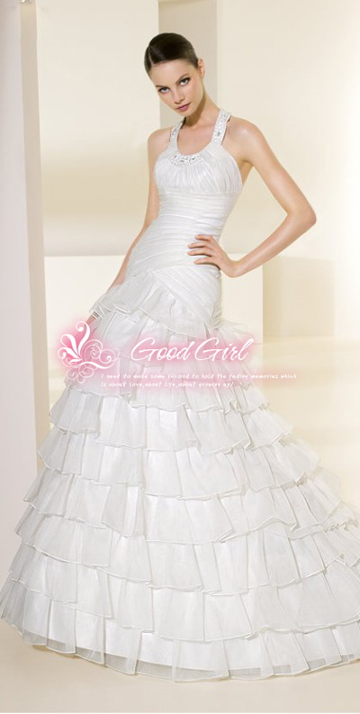 2013 new crystal yarn material folds beaded craft princess wedding dress, tailored(China (Mainland))