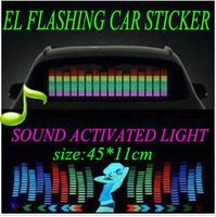45*11cm Sound Music Activated EL Sheet Car Sticker Equalizer Glow Flash Panel LED Multi Color Decorative Light Car Accessories