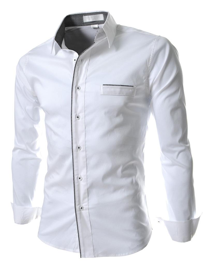 New Spring Autumn Casual Shirts Men Fashion Stand Collar Luxury Trim Design Long-Sleeve Shirts Men Slim Fit Dress Shirt(China (Mainland))