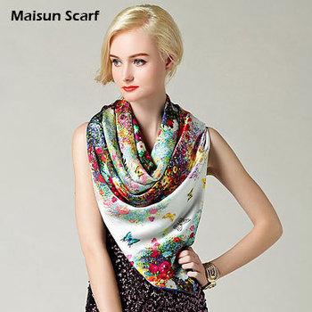 Head scarf hijabs wraps 100 silk crepe satin plain 110x110cm pashmina shawls 2015 autumn new big size square scarves