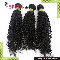 7A Top quality 100% virgin peruvian hair peruvian human hair kinky curly  3pcs/lot Free shipping