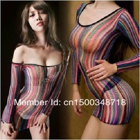 2015 New Woman   Stripe Sex Lingerie Dress Women Rainbow Sleepwear Babydoll Adult Sexy Chemise Bodystocking
