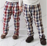 free shipping 2013 spring plaid paragraph boys girls clothing baby child casual pants
