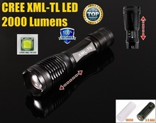 100% AUTHENTIC  E007 CREE XM-L T6 2000LM 5 Mode rechargeable led Torch Zoom cree LED Flashlight Torch lamp For 3xAAA or 1x18650(China (Mainland))