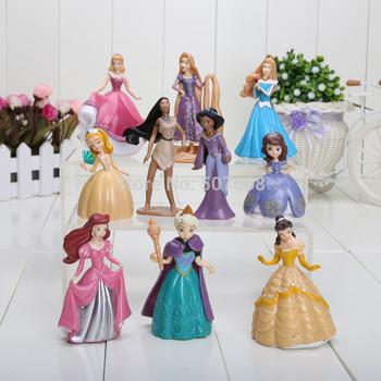 20sets/lot Frozen 7-12cm Princess Elsa Sofia Bella Tangled Pocahontas Jasmine Ariel PVC Figure Toys 1set=10pcs