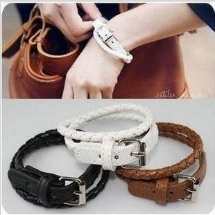 SL0075 flower leather buckle bracelet with free shipping, Don't $10 less orders(China (Mainland))