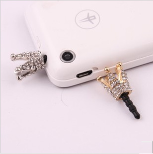 Min.order is $ 10 (mixed order)Free Shipping New arrival Factory Direct Phone Accessories Cute Crown Dust Plug/Mobile Pendant