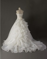 310 vestido de noiva 2014   fashionable sexy strapless embroidery chapel train    customize wedding dress bride bridal gown