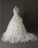 310 vestido de noiva 2014   fashionable sexy strapless embroidery chapel train    customize wedding dress bride bridal gown