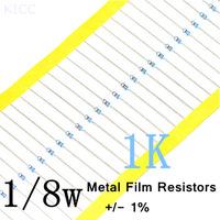 1/8W 1k ohm +/- 1% resistor 1/8w 1K ohm Metal Film Resistors / 0.125W color ring resistance (1000pcs/lot)