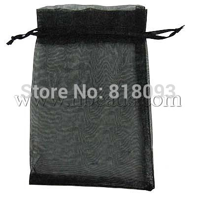 Organza Bags, with Ribbons, Rectangle, Black, Size: about 14cm wide, 17cm long(China (Mainland))