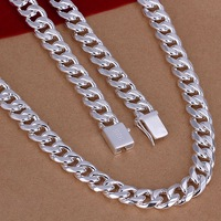 Wholesale Free Shipping 925 Sterling Silver Necklace Fashion Jewelry 10MM/20inch Men's silver chain Necklace SMTN011