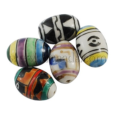 Handmade Porcelain Beads, Famille Rose Porcelain Style, Oval, Mixed Color, Size: about 21mm long, 14mm wide, 14mm thick(China (Mainland))