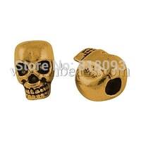 Alloy Beads,  Cadmium Free & Lead Free & Nickel Free,  Halloween,  Skull,  Antique Golden,  12x10x8mm,  Hole: 4mm