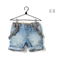 Wholesale children's clothing child shorts baby boy girl child denim suspenders shorts baby jeans pants free shipping