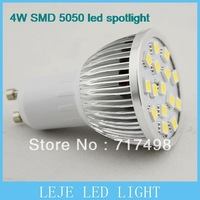 4PCS/LOT LED Spotlight GU10 AC220V 230V 240V Warm White/Cool White 4W 270LM 15PCS 5050SMD Free shipping