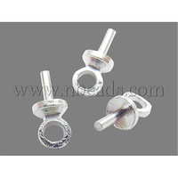 Cup Pearl Bail Pin Pendants,  For Half-drilled Beads,  Brass,  Silver Color,  about 3mm wide,  7mm long; Screw Ends: 1mm