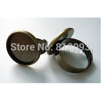 Brass Pad Ring Findings, Adjustable, Antique Bronze, 5x17mm, 16mm inner diameter(China (Mainland))