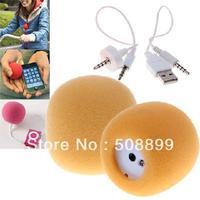 iPump 3.5mm Mini USB Portable Speaker CellPhone,MP3&MP4,ect Orange Free Shipping+Dropshipping