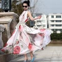 Sell Bohemia Summer Long Beach Chiffon Flouncing Dress Maxi Dress free shipping free shipping b6 SV000243