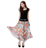 XL~5XL 2Pcs Set Women Plus Size Short Sleeve Floral Print Bohemian Maxi Long Dress New Summer Flower Two Pieces Dress with Belt