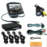 / video rear view system /Reverse Radar  3.5 inch Video2 CH Parking Sensor +4sensor+reverse led camera  reverse video parking