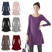 New 2014 / Autumn and winter / Female dresses Ladies' O-neck long sleeve High quality woolen fashion dress M - XXXXL 733