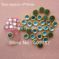 Free Shipping-Light blue color 200pcs/lot special shine stone metal rimmed rhinestones Nail Art Decoration