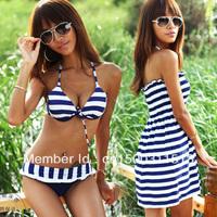 3pcs Summer Sexy Women Lady blue white stripe Swimwear Bikini Beach Dress