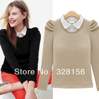 Promotions!women Long Sleeve Turn Down Collar Jersey Blouse Shirt blusas femininas S,M,L,XL