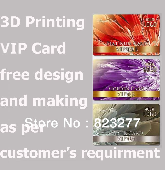 free shipping !3D membership card VIP card / plastic business cards custom design to carry out his design free design(China (Mainland))