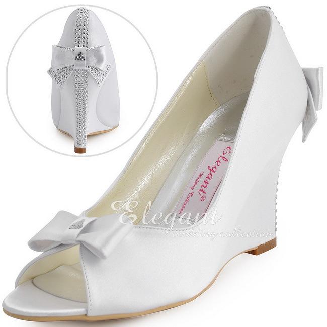 Aliexpress Buy Elegantpark White Wedge Heels EP41020 Peep Toe Rhinestones Bow Satin Pumps