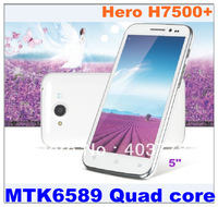 Free shipping In stock Hero h7500+ MTK6589 Quad core 1G RAM+4G ROM 1280*720 Dual cameras 5 inch capacitive touch screen Russian