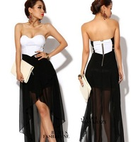 Womens Sexy Asymmetric  Clubwear Evening Party Dress Strapless Skirts