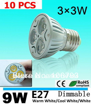 Factory directly sale 10pcs/lot E27 9W 110V 220V Dimmable led Light led lamp bulb led Bulb spotlight free shipping