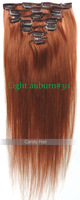 Top quality unprocessed virgin brazilian hair weaves straight clip in hair extensions queen hair products Light auburn#30