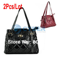 2Pcs/Lot Fashion Retro Women's Handbag Diamond Check Synthetic Leather Shoulder Bag 2Colors  13319