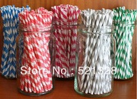 300pcs & 25 Packing mixed Striped and Polka Dot Drinking Paper Straws,striped paper party straws,free shipping ZF1 04