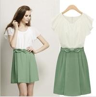 Women Dresses Fashion Bow Clothes Brand Designer Casual Ruffle Sleeve Chiffon Dress Free Shipping LY131458