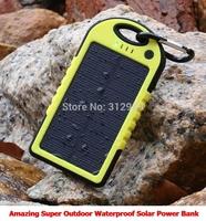 2014 Smart Design Daul USB 5000Mah Potable Waterproof Solar Power Bank Mobile Charger YD-T001