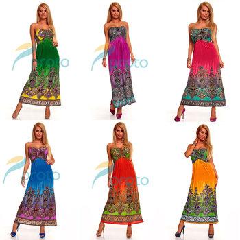 M XXL Plus Size 6 Colors 2014 New Fashion Women Sexy Strapless Printed Maxi Long Bohemian Beach Dress Summer Casual Dress 4145