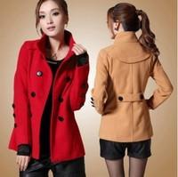 2013 on sales women's pea coat plus size woolen coat outerwear free shipping