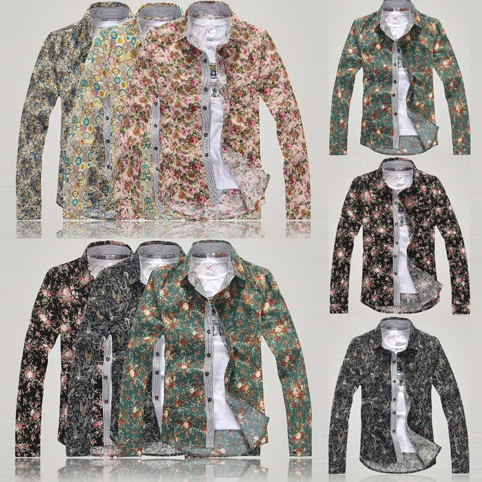 2014 New Arrival Men Flower Shirts Cotton Long-sleeved Vintage Floral Custom Slim Business Dress Polo Shirts B0647(China (Mainland))