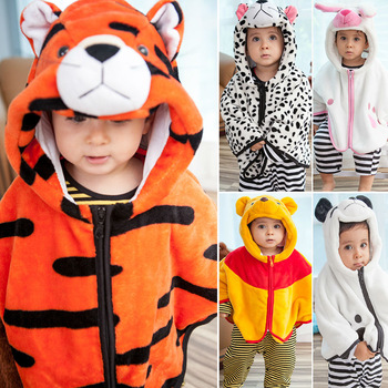 Cute Animal Costume Cloak Fleece Baby Girls Boys Outwear Children Warm Capes Coats Kids Autumn Winter Jecket 7 Colors for 0-3 T