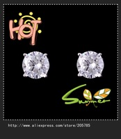 8mm  fanshion  rhinestone  zircon cz earrings  girl's 18K white Gold plated  Stud Earrings1pair Freeshipping