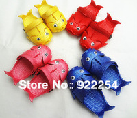 2013 New Hot Lovely Baby Kids Slippers Boys and Girls EVA Slippers Fish Shoes Pink Blue Yellow Red Free shipping