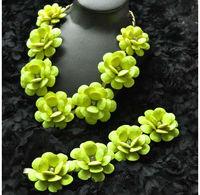 Origin Brand Classic Neon Yellow flowers necklace and bracelet jewelry set with original logo