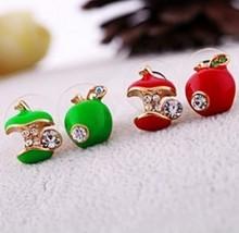 E148 E149 Min. Order Is $8 (mix order) Free Shipping Wholesale Fashion Punk Rhinestone Red /Green Apple Womens Cheap Earrings