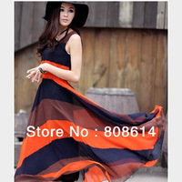 Fashion Boho Bohemian Chiffon Stripes Summer Beach Long Maxi Sleeveless Chiffon Dress Free Shipping