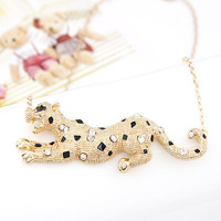 Fashion Jewelry Gold CZ Diamond Leopard Link Chain Choker necklaces & pendants bijoux for Women gifts